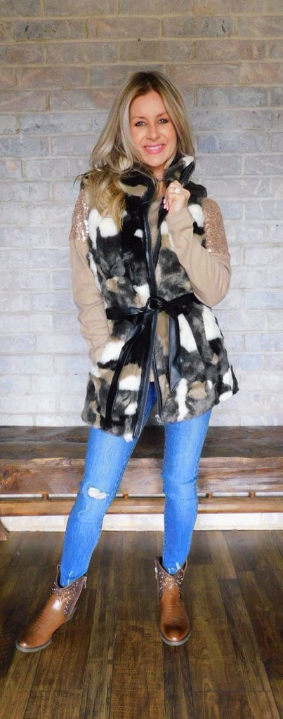 In The Woods Fairy Tale Camo Faux Fur Vest