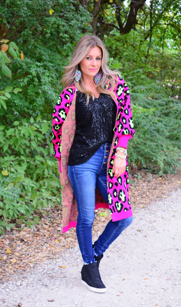 Hot Pink Copy Cat Comfy Cardigan by Crazy Train