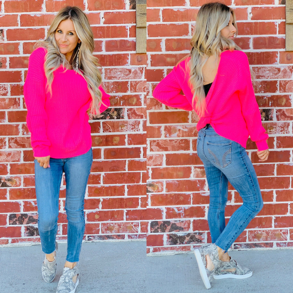Neon Pink Cozy Open Back Sweater