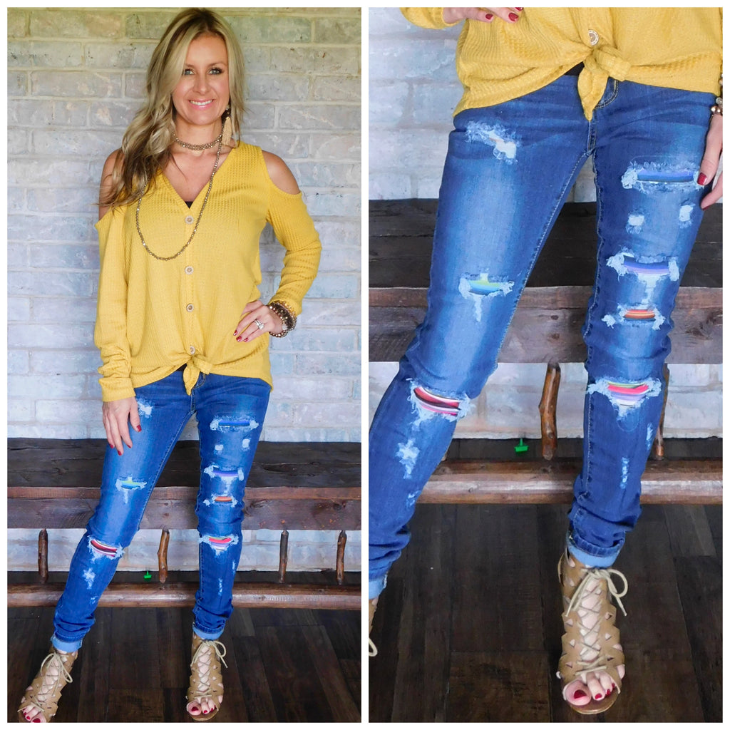 Serape Denim Jeans By judy Blue