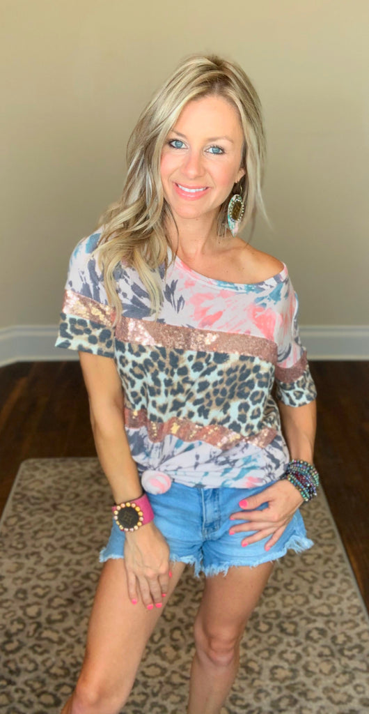 Berry Tie Dye with Leopard & Rose Gold Sequin Tee
