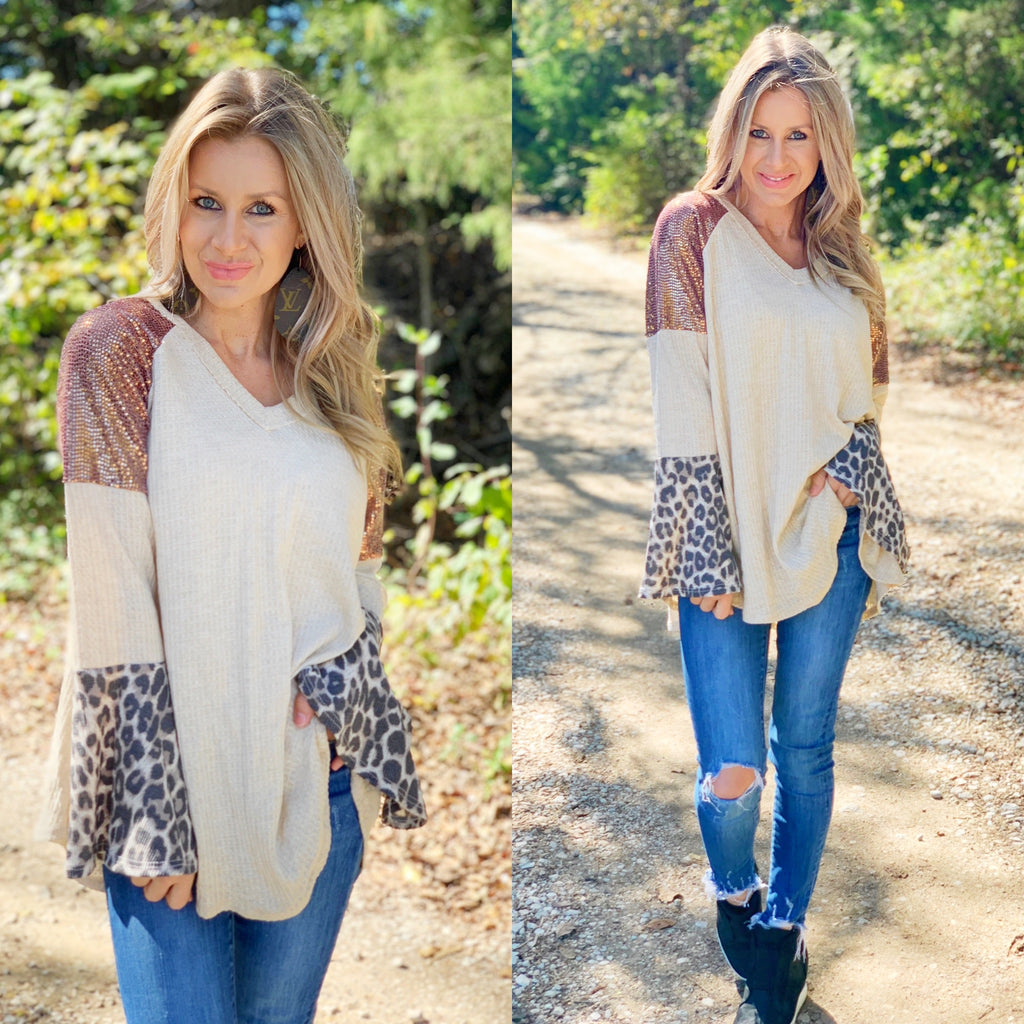 Come On Over Sequin Leopard Flare Sleeve