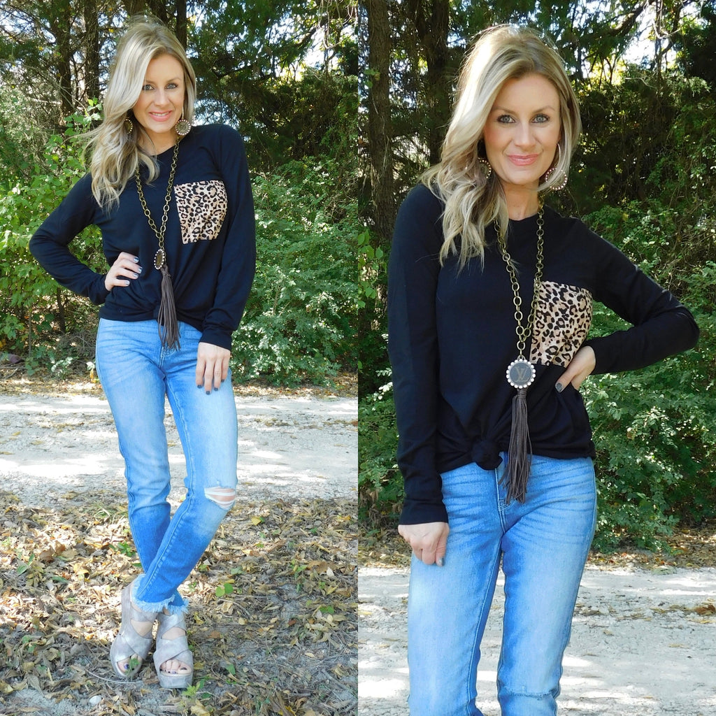 Black Comfy Casual Leopard Pocket Long Sleeve