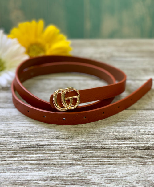 Brown Designer Inspired Skinny Belt