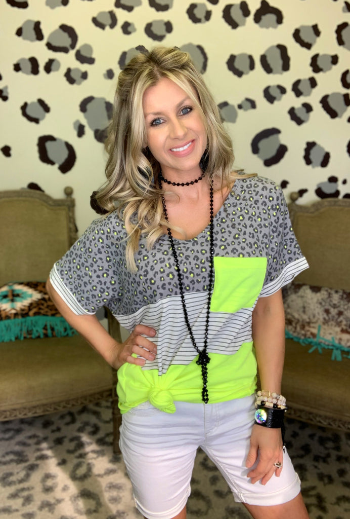 Neon Lime Colorblock Top
