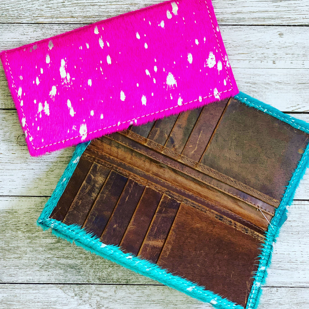 Cowgirl Barbie Hot Pink & Silver Hair on Hide wallet