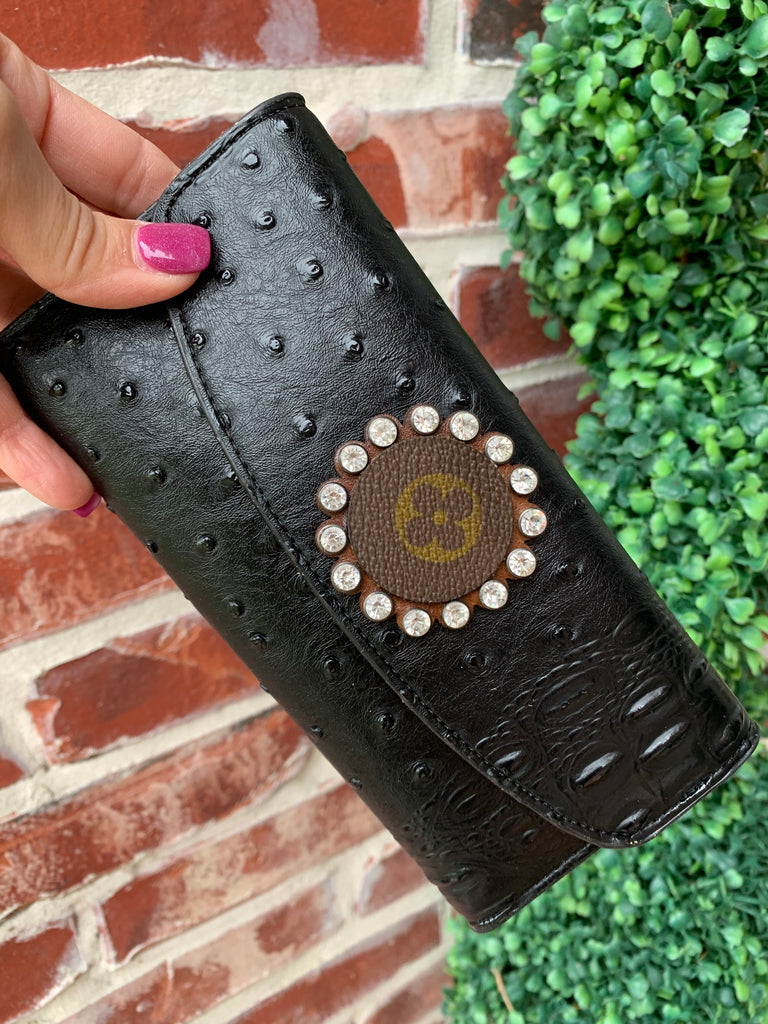 Black Croc Upcycled Embellished Wallet / Clutch
