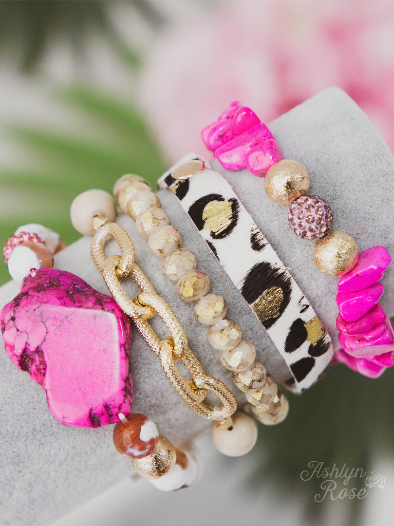 Yours Truly in Pink & Leopard Bracelet Let