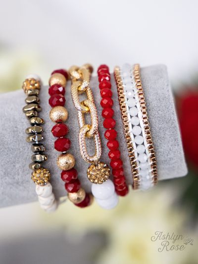 Anchors Away in Red & Gold Bracelet Set