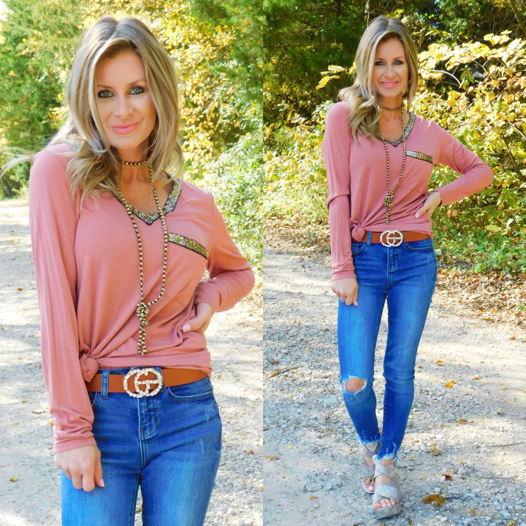 Casual sequin V-neck long sleeve in Brick