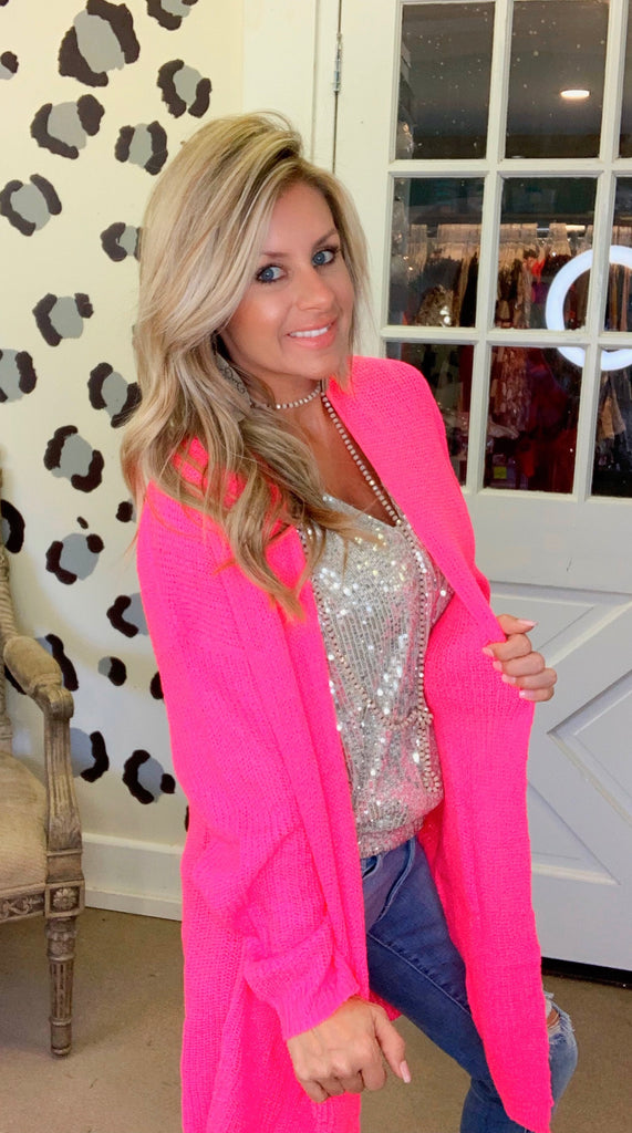 The Carrie hot Pink cardigan by Peach Love