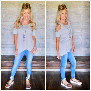 Grey criss cross cold shoulder blouse