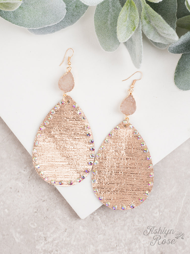 Metallic Gold & Druzy Teardrop Earrings
