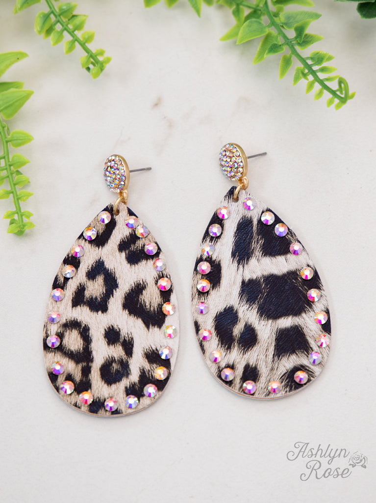 Wild Leopard Crystal Stud Earrings