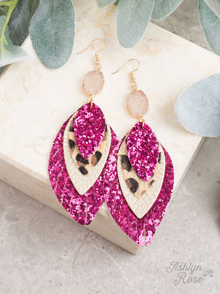 Perfect Trio Earring ~ HOT PINK