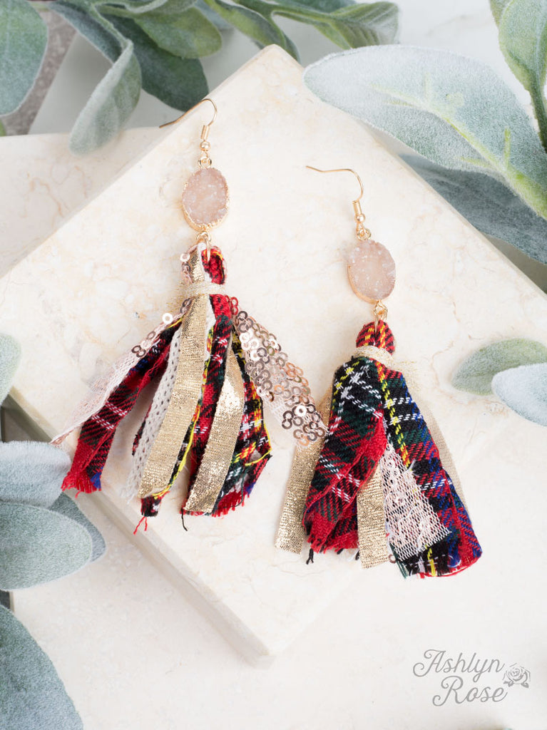 Deck the Halls Druzy + Red Plaid Earrings