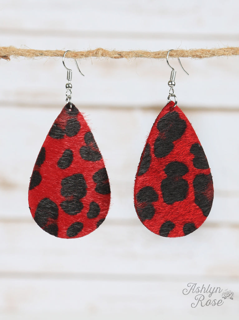 Red Hot Leopard Hair on hide Teardrop Earrings