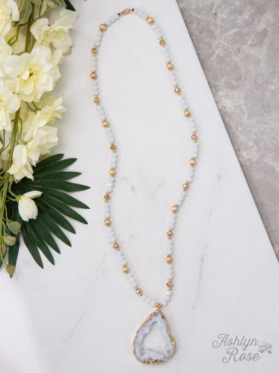 White & Gold Beaded Necklace w/ White Druzy Pendant