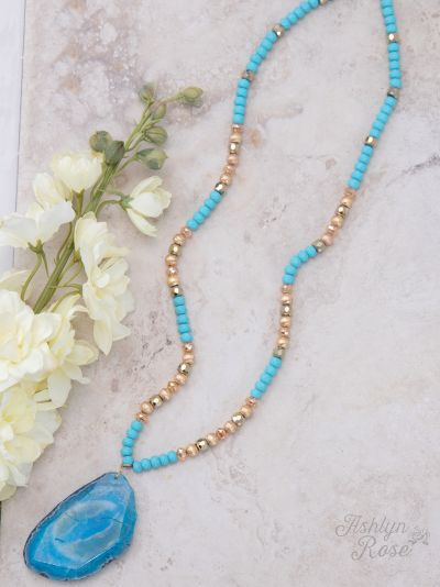 Turquoise Nature's Beauty Beaded Necklace w/ Stone Pendant