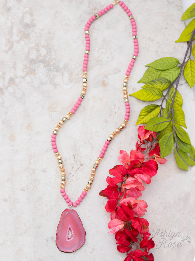 Pink Nature's Beauty Beaded Necklace w/ Stone Pendant
