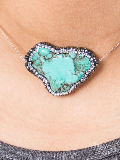 Turquoise pave stone necklace
