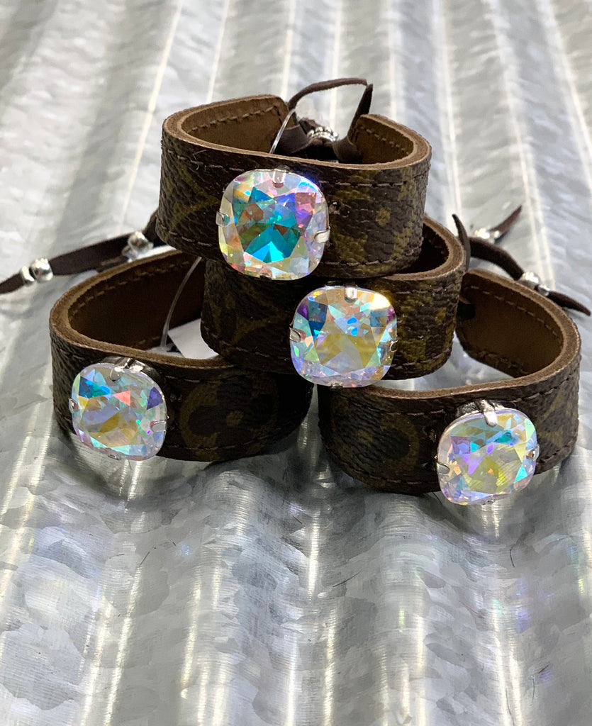 Up-cycled Designer AB Crystal Mini cinch cuff