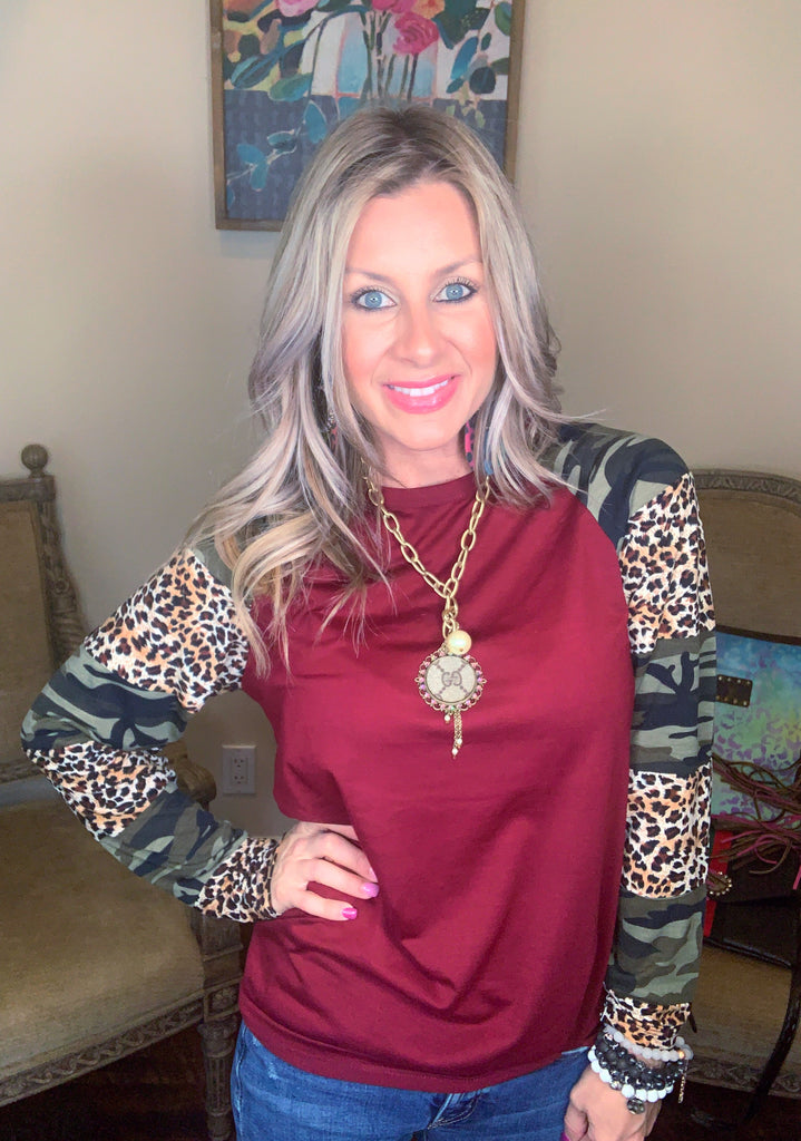 Burgundy Camouflage & Leopard Long Sleeve Top