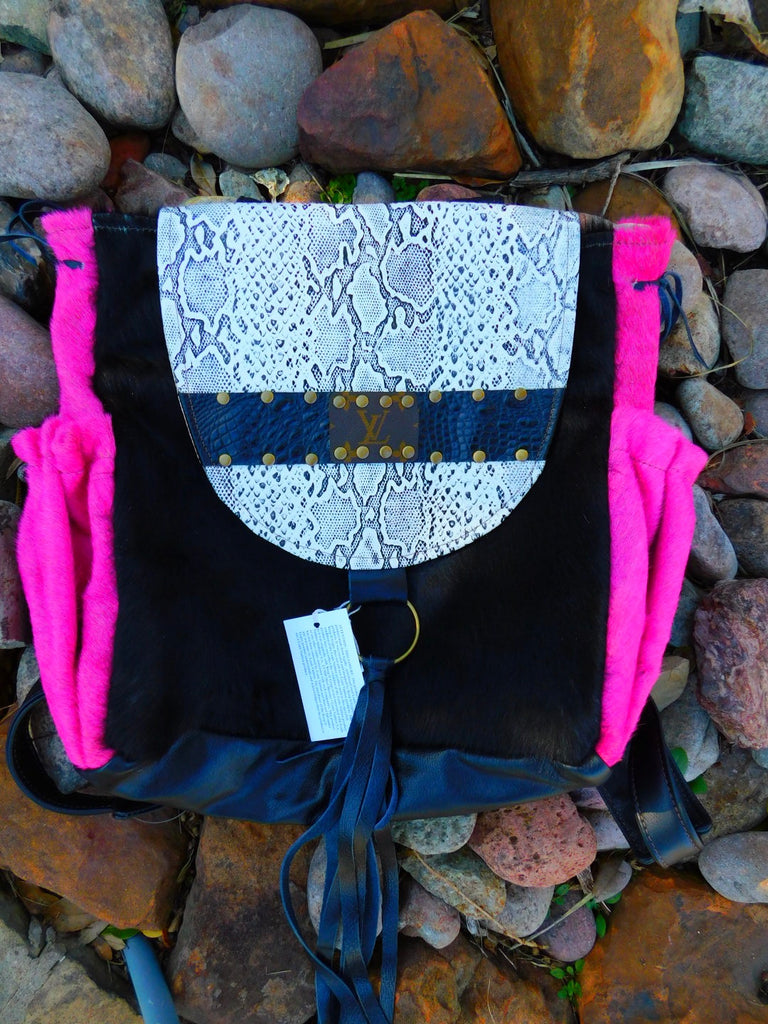 Black & pink hair on hide ,python leather back pack by Keep it gypsy