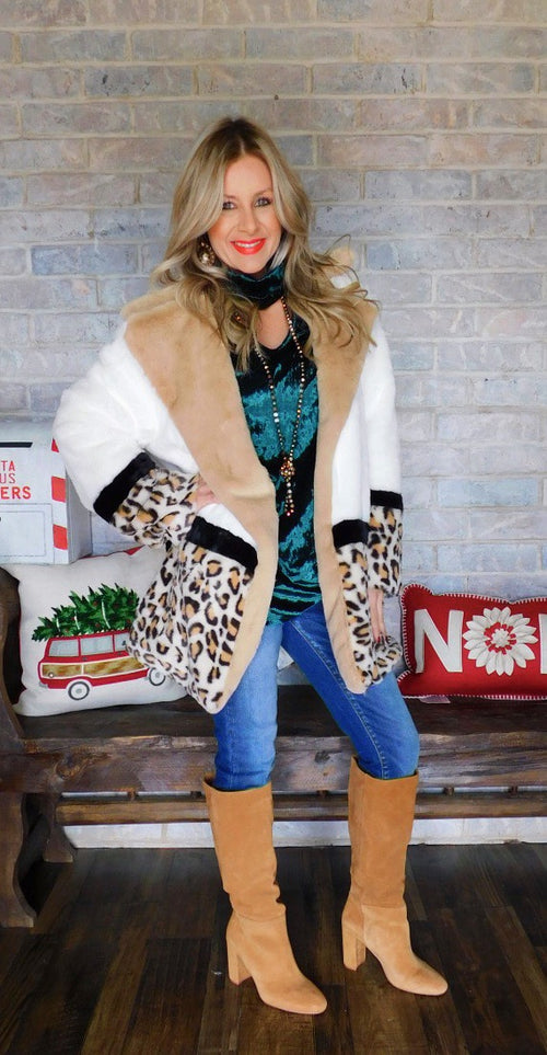 Snowy Leopard Faux Fur Coat
