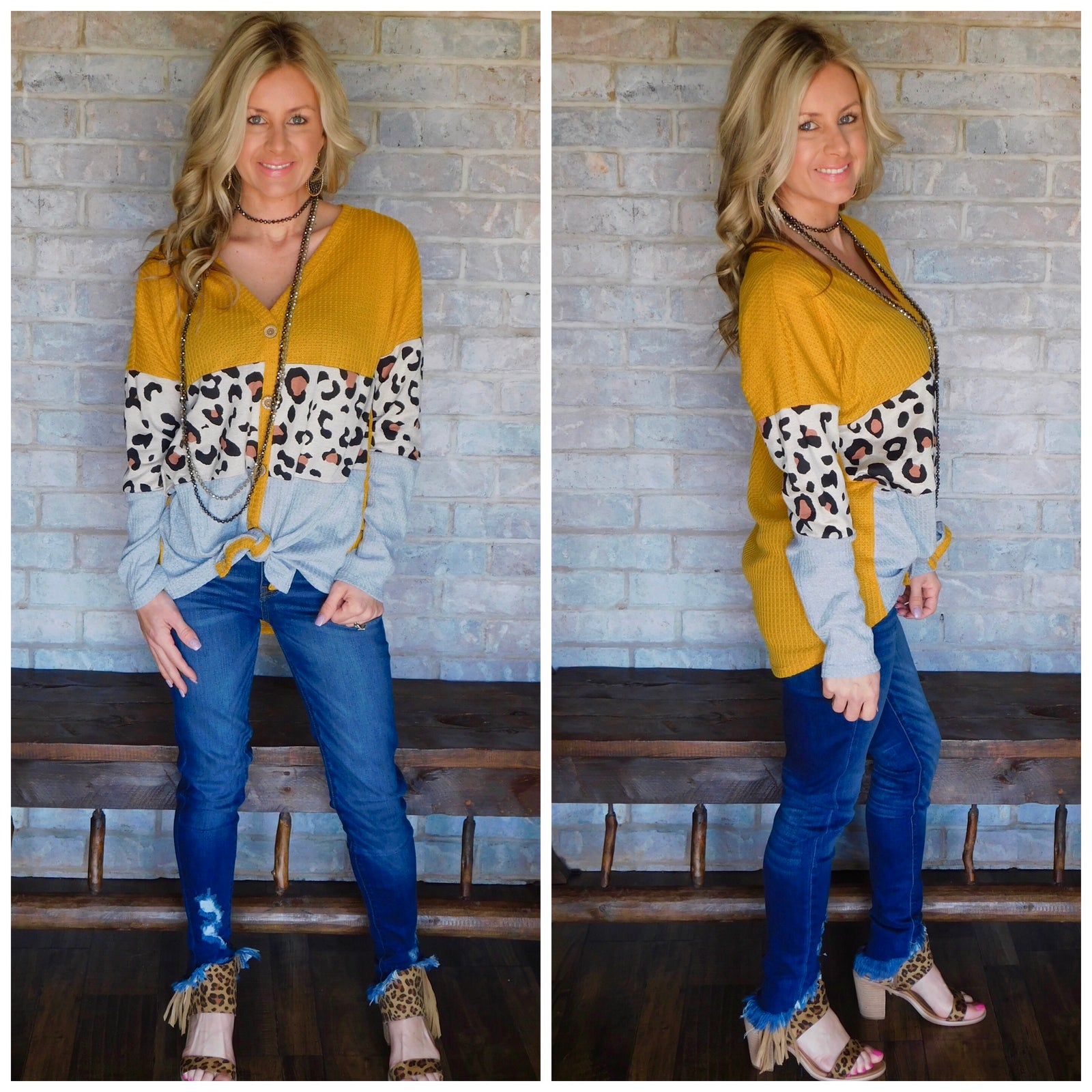 Mustard grey leopard color block blouse