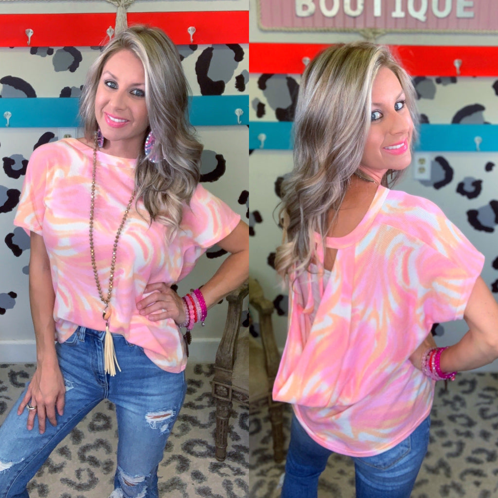 Bubblicious Tie Dye Slit Open Back Top