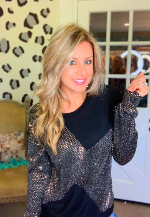 Shimmy & shake black sequin sweater