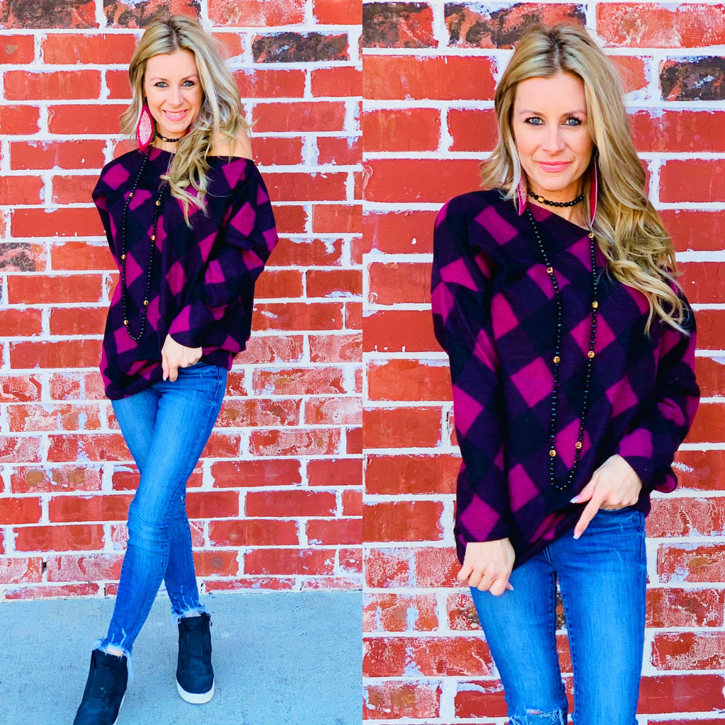 Black and Magenta Plaid Sweater