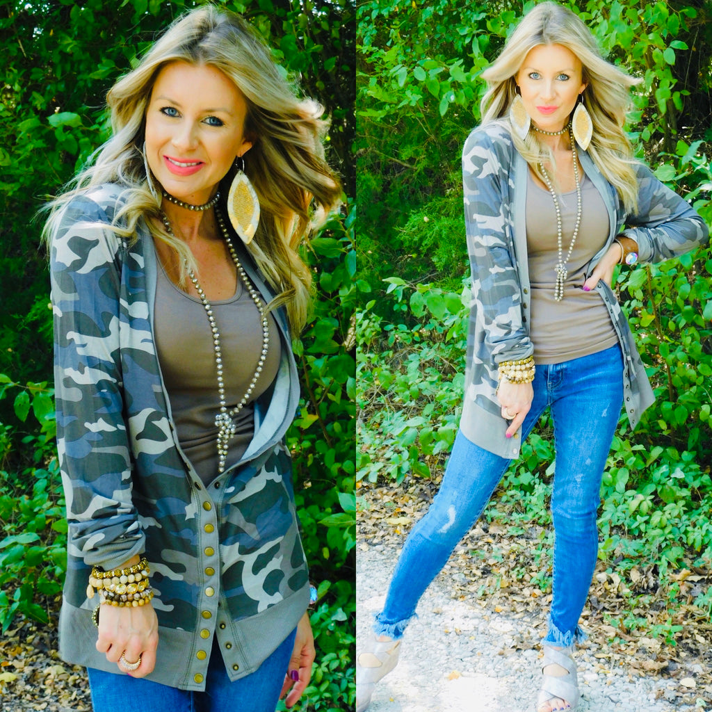 Dusty Camo Snap Cardigan