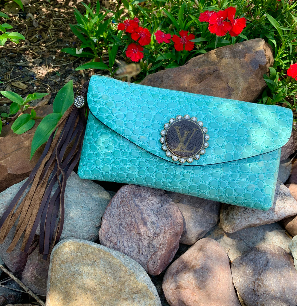 Sky Blue Croc Leather Upcycled Embellished Belt Bag/ Purse
