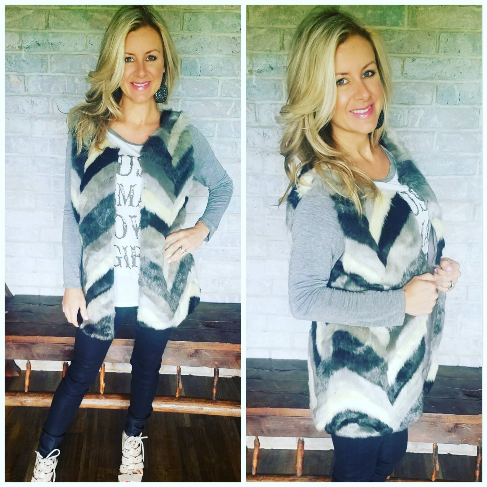 Black & grey Chevron faux fur vest