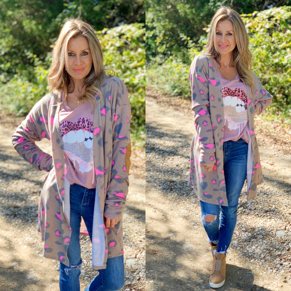 Brown & Pink Leopard Cardigan