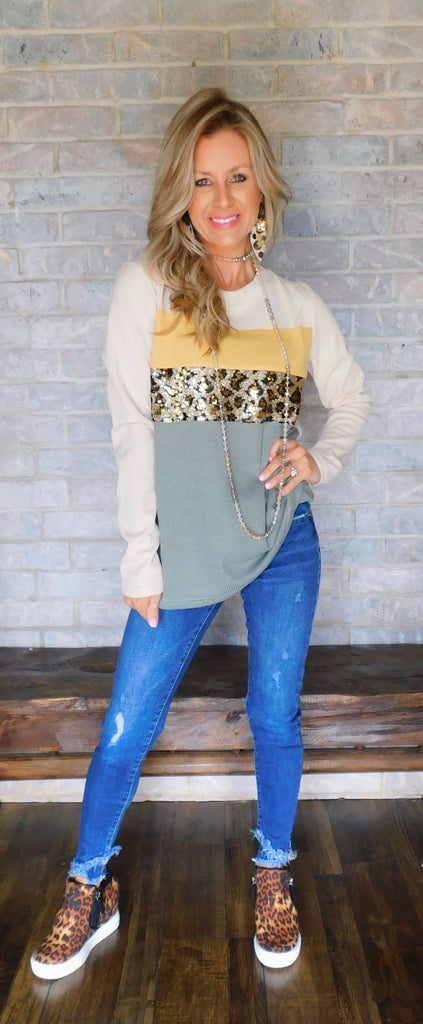 Leopard Sequin waffle knit color block blouse