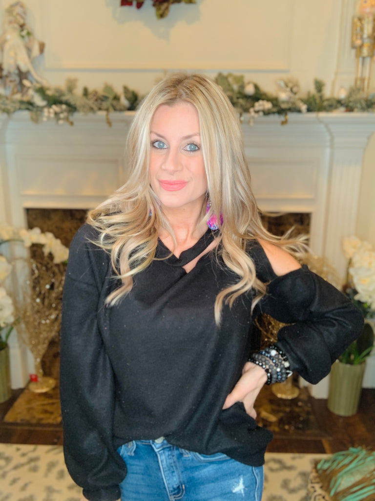 Black One Sided Cold Shoulder Blouse