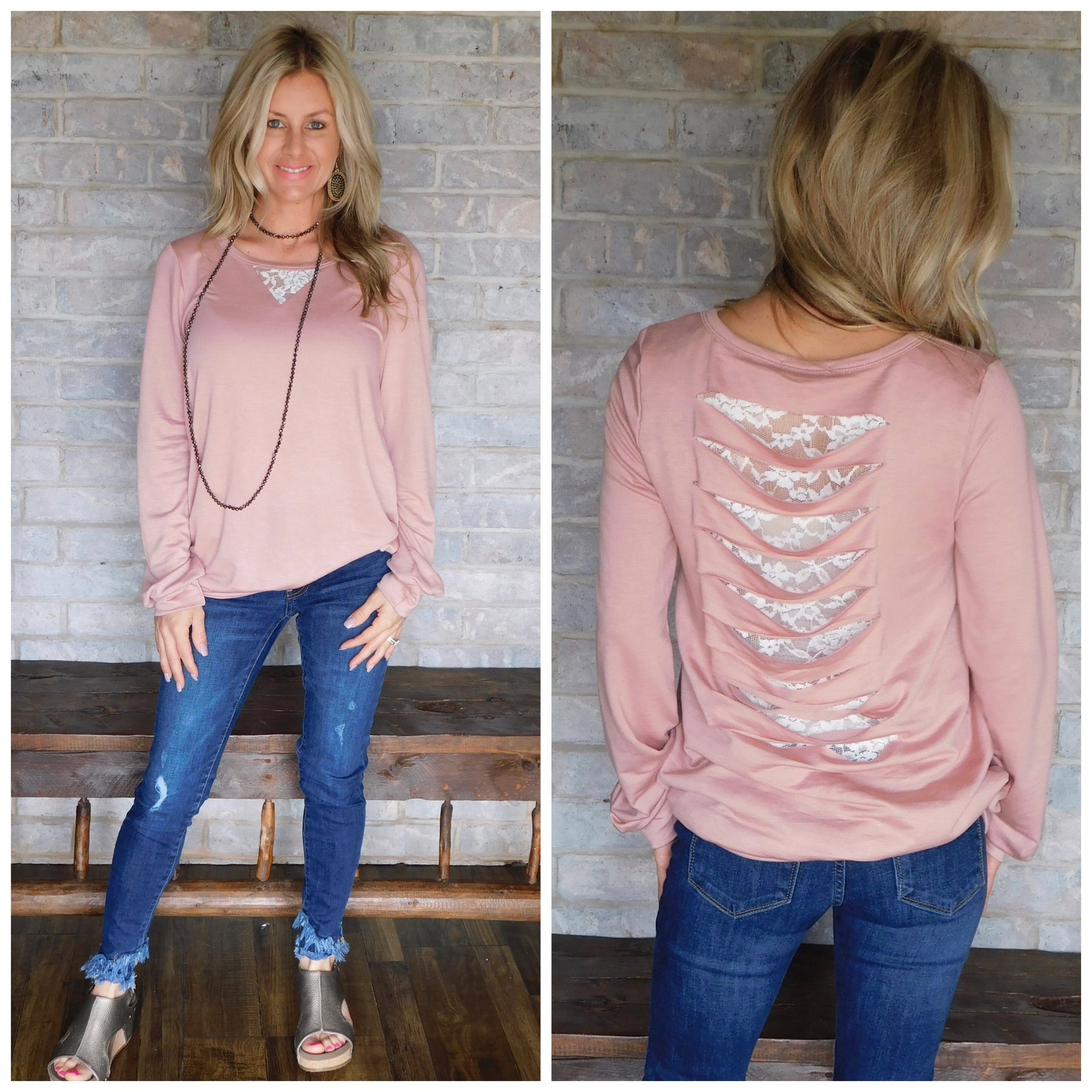 Blush lightweight blouse with lace back