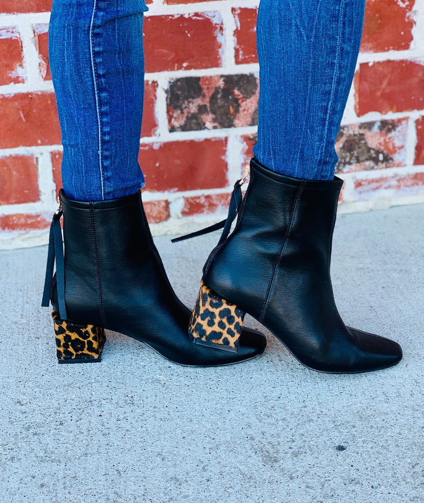 Downtown Gal Leopard Black Booties