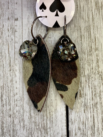 Camo feather crystal earrings