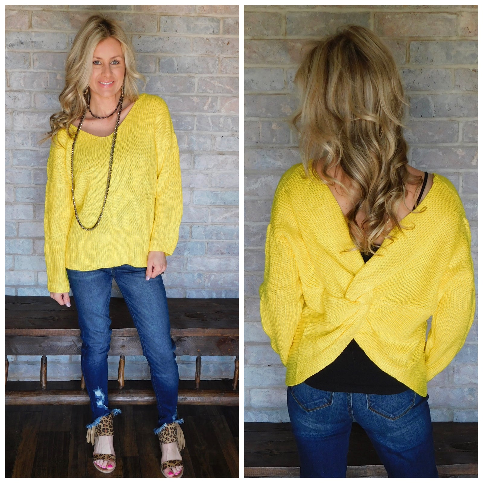 Yellow knotted back sweater