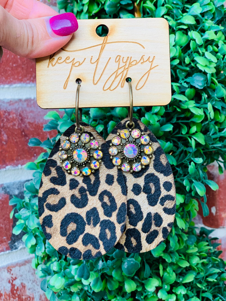 Dark Cheetah Multi Floral AB Earrings