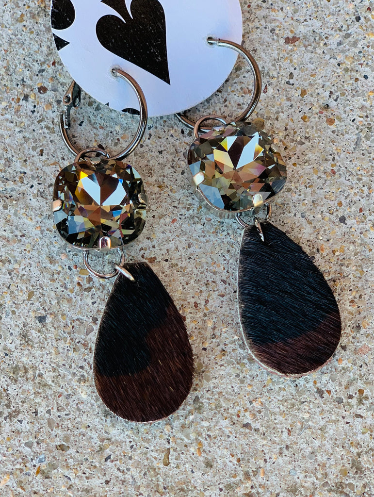 Camo Hair on Hide Double Drop AB Earring