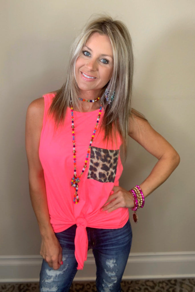 Neon Pink Cheetah Pocket Tank