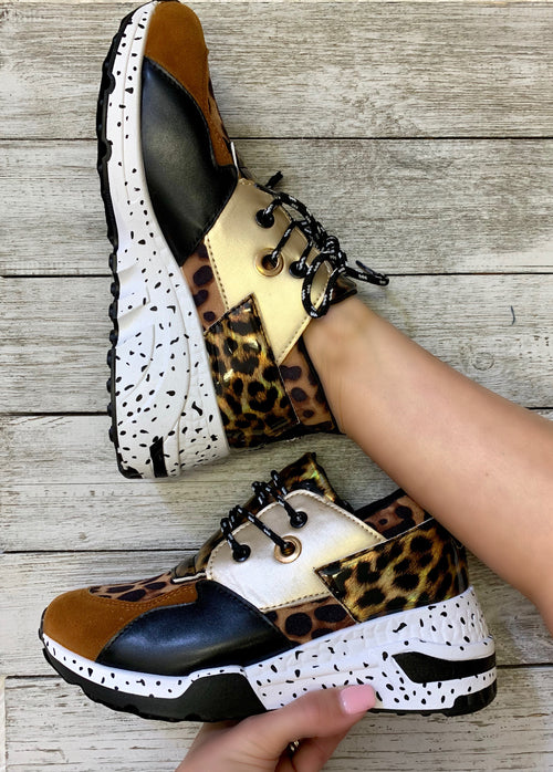 Crazy Beautiful Brown, Gold & Leopard tennis shoes