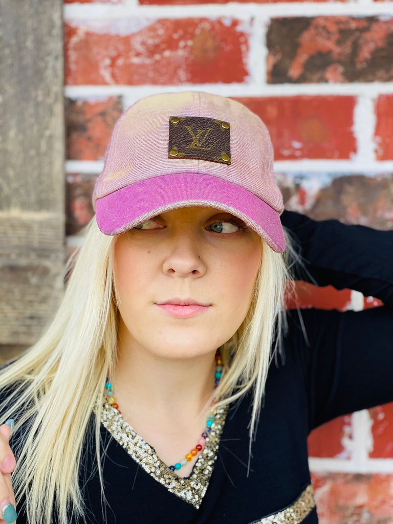 Blush & Gold Glitter hat with Upcycled Embellishment