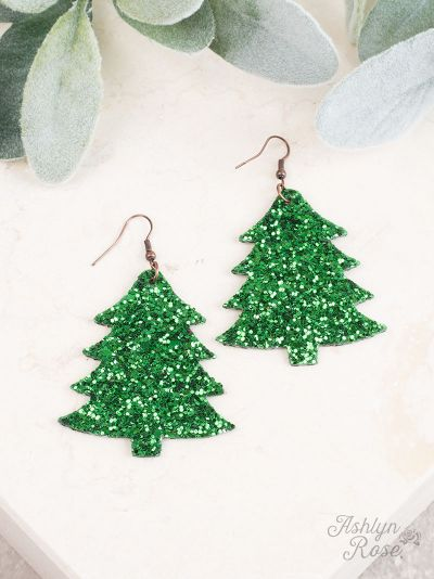 Green Glitter Christmas Tree Earrings