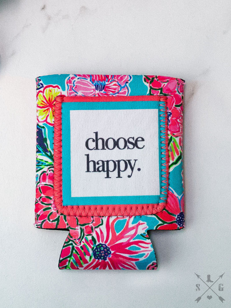 Choose Happy Can Cooler
